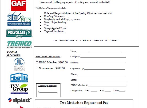 IIBEC Florida Educational Program | 10/22/2021 Rooftop Quality Assurance